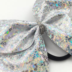 Shattered Glass Silver Cheer Bow // Holographic Cheer Bows - Bling Bow Love - 3