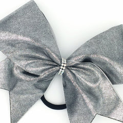 Dark Silver Metallic Cheer Bow - Bling Bow Love - 2