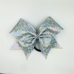 Shattered Glass Silver Cheer Bow // Holographic Cheer Bows - Bling Bow Love - 5