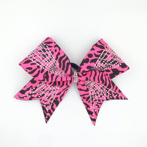 Pink Cheetah Bling Bow - Bling Bow Love - 1
