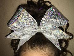 Shattered Glass Silver Cheer Bow // Holographic Cheer Bows - Bling Bow Love - 4