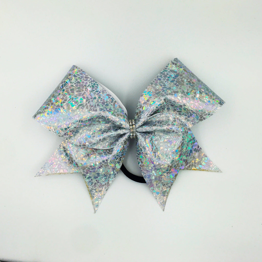 Shattered Glass Silver Cheer Bow // Holographic Cheer Bows - Bling Bow Love - 1