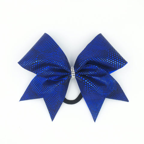 Blue Animal Print Cheer Bow - Bling Bow Love - 1