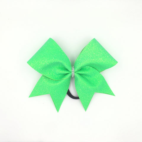 Neon Green Glitter Cheer Bow - Bling Bow Love - 1
