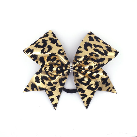 Gold Leopard Bow, Cheer Bow, Cheetah Bow - Bling Bow Love - 1