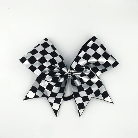 Black & Silver Checkered Bow - Bling Bow Love - 1