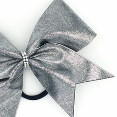 Dark Silver Metallic Cheer Bow - Bling Bow Love - 4