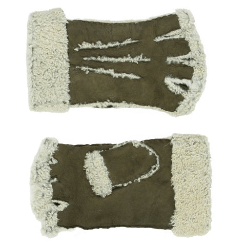 Larzac Sheepskin Leather Mittens Gloves - Khaki