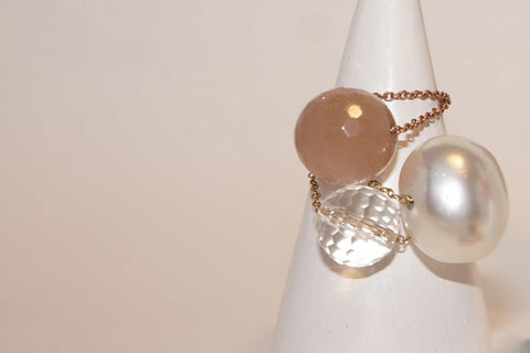 Gembuds Peach Moonstone Ring