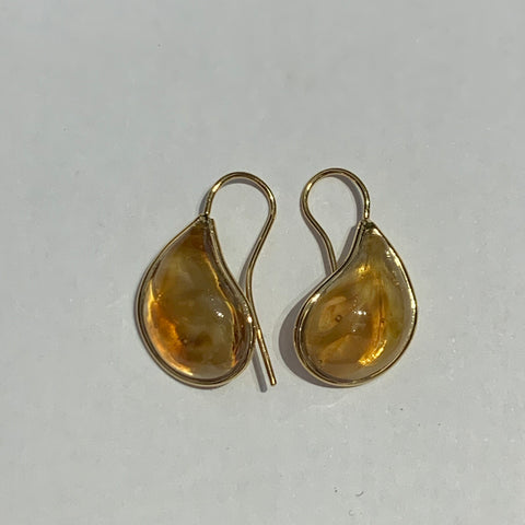 Teardrop Earrings - Dark Citrine