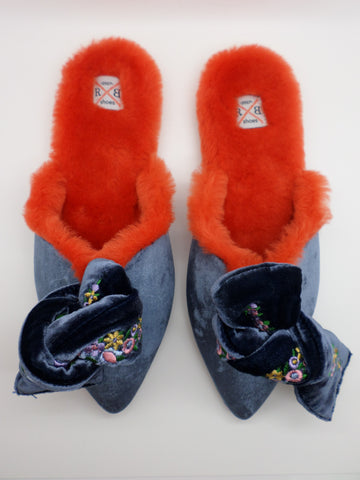 Milana Embroidered Velvet Bow Mules - Blue