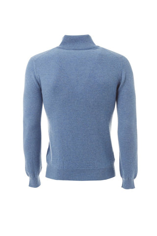 Blue zipped turtle neck cashmere sweater