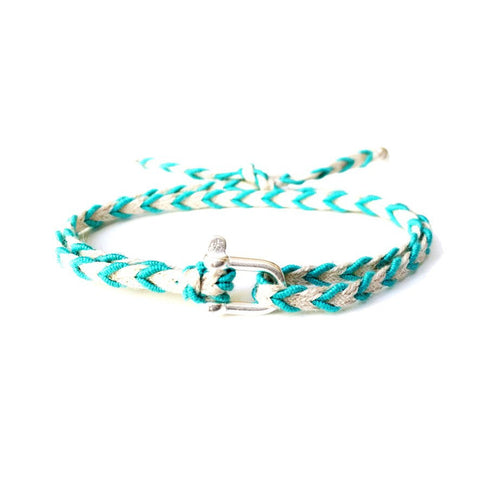 Braided Bracelet Small Manille Silver 925 - Blue