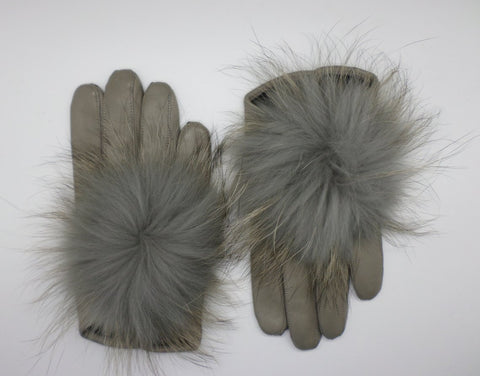 Leather gloves with fur PomPom - Grey