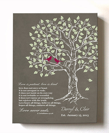 Personalized Bible verse family tree canvas wall art Wedding gift for the couple
