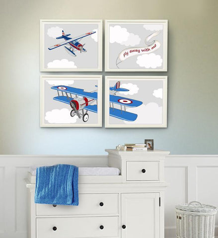 Airplane wall decor, Airplane nursery art, Boy nursery art prints - Unframed Prints - Set of 4-B018KOC59GBaby ProductMuralMax Interiors