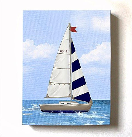 Boy's Sailboat Nursery Art - Nautical Nursery Decor Canvas Wall Art - Nautical Baby Boy Room Decor - MuralMax Interiors