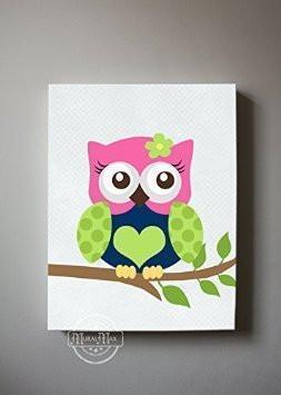 Girl Room Owl Canvas Decor - Navy Hot Pink Lime Nursery Art