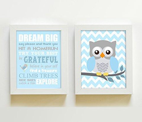 Playroom Rules Dream Big Owl Boy Room Decor - Set of 2 - Unframed Prints-Inspiration Quote