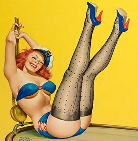 "Hello Sailor Pin up 14x14cm Greetings Card ""Blank Inside"" - On the Wall Art Print Posters & Gifts"