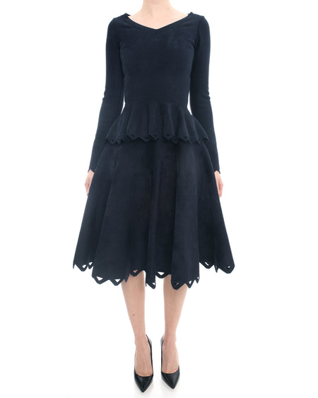 Alaia Navy Velour 2pc Perforated Skirt and Peplum Top Set - 38