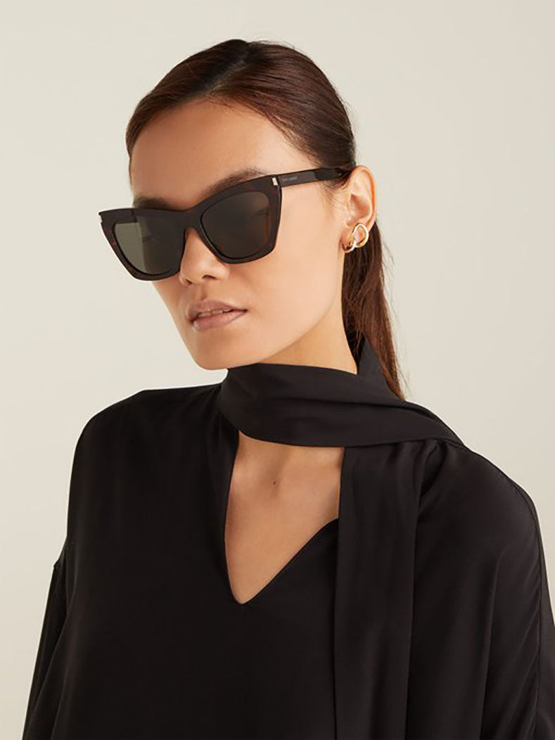 Saint Laurent Kate Cat Eye Black Sunglasses SL-214.