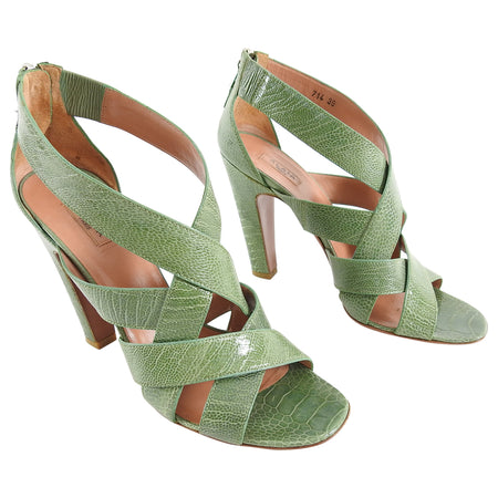 Alaia Green Lizard Criss Cross High Heel Sandals - 39