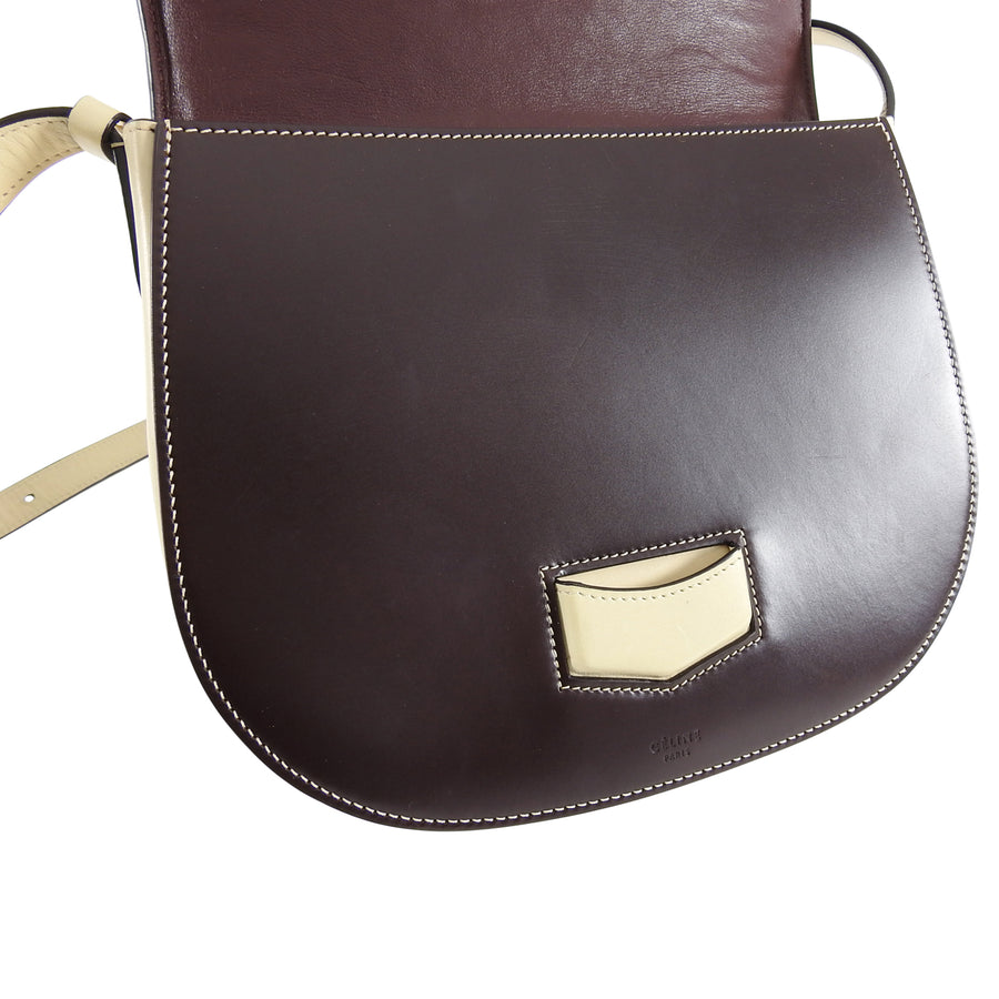 Celine Medium Bicolor Trotteur Bag Burgundy Powder