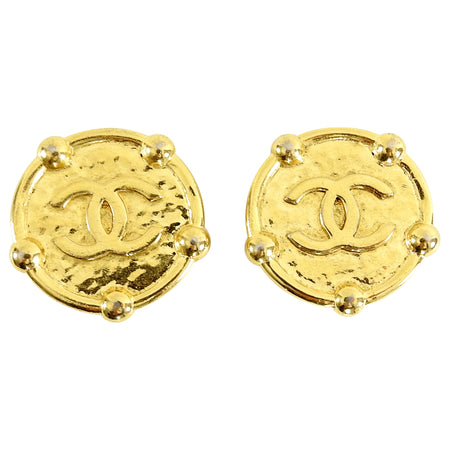 Chanel Vintage 1989 Large Gold CC Medallion Earrings