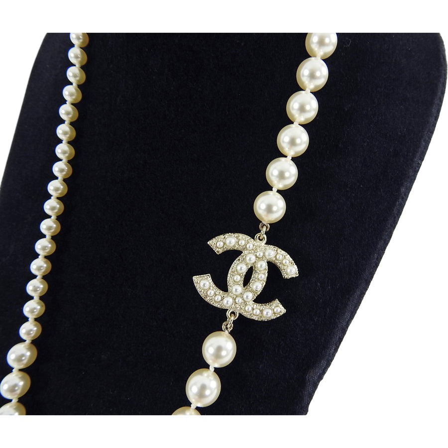 Chanel 17V Long Single Strand Pearl CC Necklace