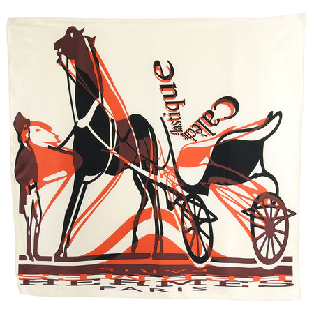 Hermes Elastique Caleche Ivory and Red Silk 90cm Scarf
