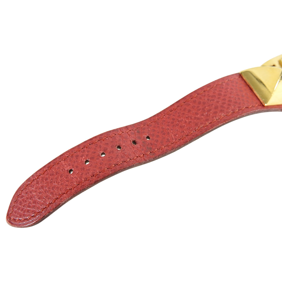 Hermes Vintage 1995 Medor Gold and Red Watch