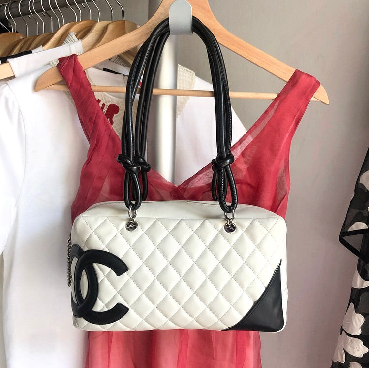 Chanel Cambon Lambskin CC Black and White Boston Bag