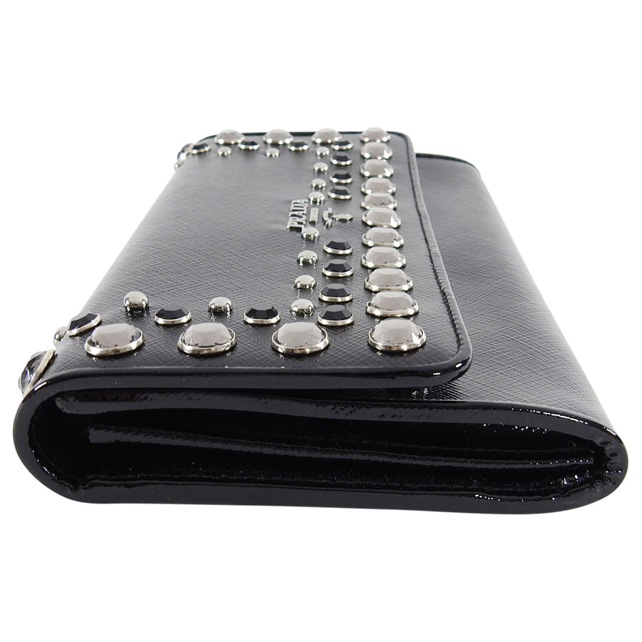 Prada Black Saffiano Patent Leather Jewel Stud Wallet