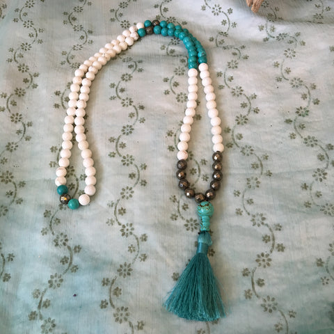 Howlite and Pyrite Crystal Healing Mala