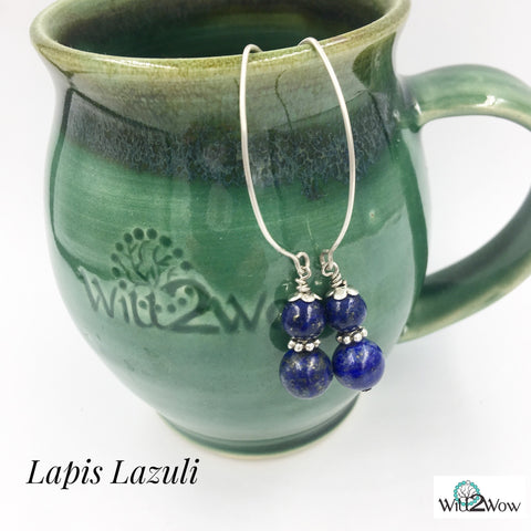 Lapis Lazuli Crystal Healing Earrings on Sterling Silver