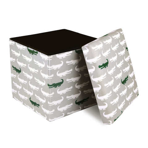 Alligator Fabric Covered Collapsible Ottoman