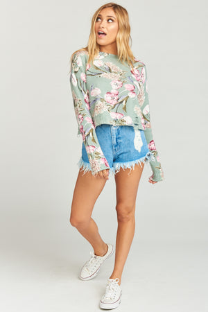 Cropped Varsity Sweater - Primavera Floral Knit