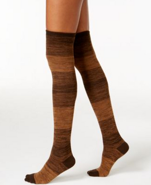 Hue Ribbed Ombre Over the Knee Socks Espresso