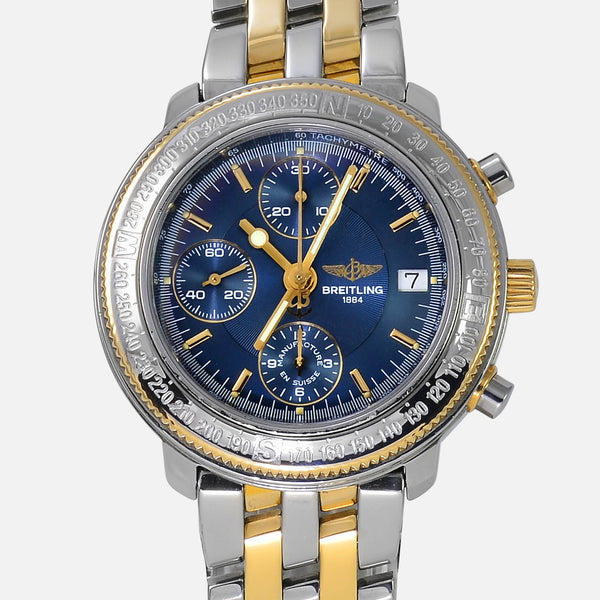 Breitling Astromat Longitude 18K Gold/SS Blue Dial GMT D20405 - NeoFashionStore