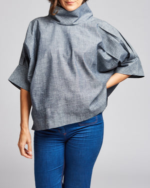 cotton denim high-neck blouse