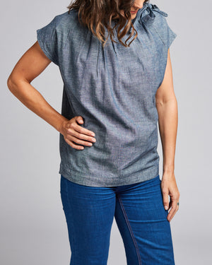 cotton denim tie-neck top