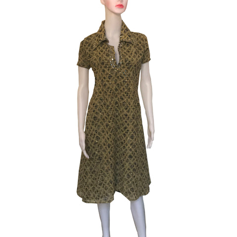 Vintage 1960s Hand-Sewn Day Dress With Sequins