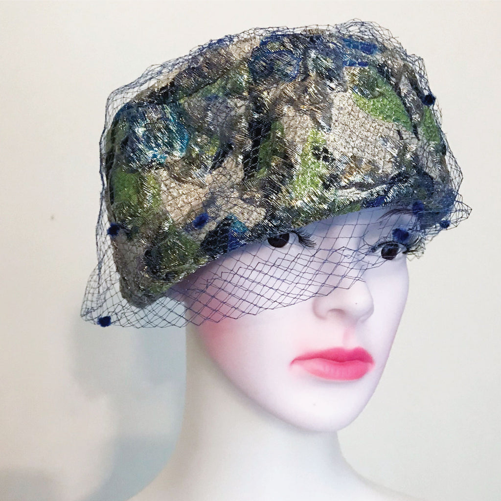 Vintage 1950s Pillbox Hat With Blue Netting
