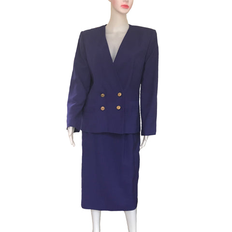 Vintage 1980s Sasson Purple Skirt Suit