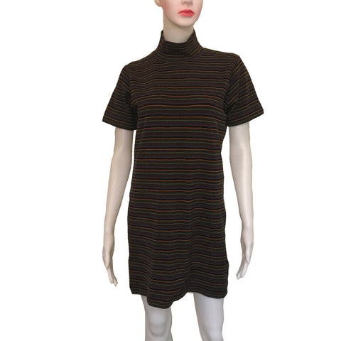 Vintage 1960s Mod Striped Mock Turtleneck Mini-Dress