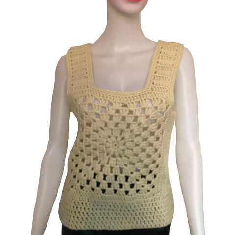 Vintage 1970s Crochet Sleeveless Sweater