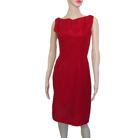 Vintage 1950s Lorrie Deb Red Satin Wiggle Dress