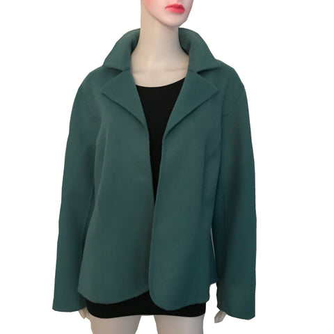 Vintage 1950s Teal Blue Wool Open-Front Jacket