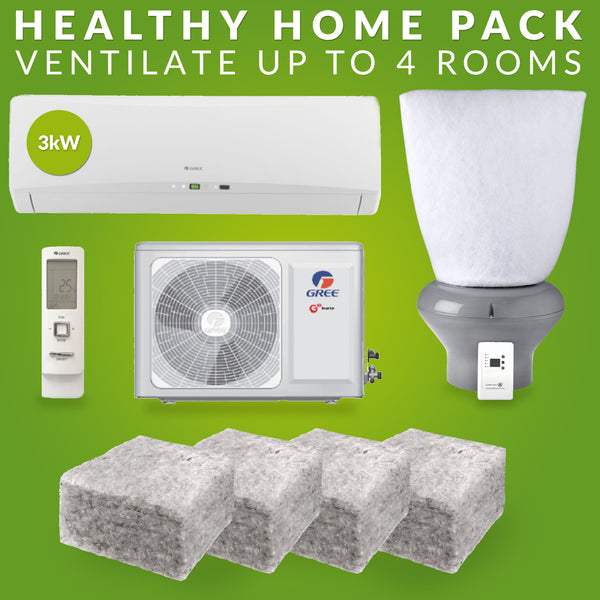 Healthy Home Pack: 2.5kw GREE Heat Pump, R 3.2 Realwool & Supervent 108m²-Home Pack-supercellnz